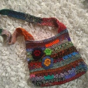 Vintage Crocheted Fun Purse Crossbody Hobo